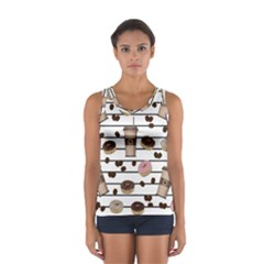 Donuts and coffee pattern Women s Sport Tank Top