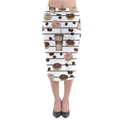 Donuts and coffee pattern Midi Pencil Skirt