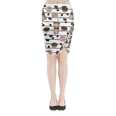 Donuts and coffee pattern Midi Wrap Pencil Skirt