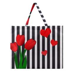 Tulips Zipper Large Tote Bag