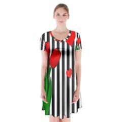 Tulips Short Sleeve V Neck Flare Dress