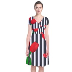 Tulips Short Sleeve Front Wrap Dress