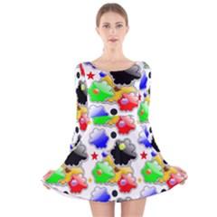 Pattern Background Wallpaper Design Long Sleeve Velvet Skater Dress