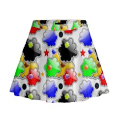 Pattern Background Wallpaper Design Mini Flare Skirt