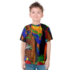 Parrots Aras Lori Parakeet Birds Kids  Cotton Tee