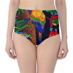 Parrots Aras Lori Parakeet Birds High-Waist Bikini Bottoms