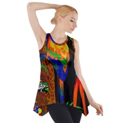 Parrots Aras Lori Parakeet Birds Side Drop Tank Tunic