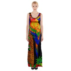 Parrots Aras Lori Parakeet Birds Maxi Thigh Split Dress