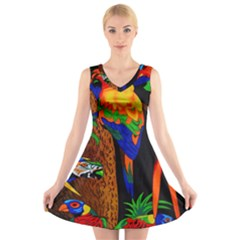 Parrots Aras Lori Parakeet Birds V Neck Sleeveless Skater Dress