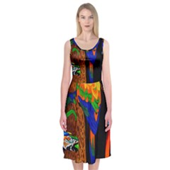 Parrots Aras Lori Parakeet Birds Midi Sleeveless Dress