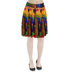 Parrots Aras Lori Parakeet Birds Pleated Skirt