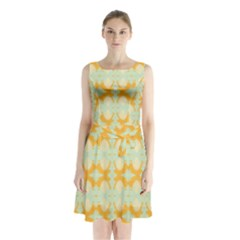 Sun Burst Sleeveless Chiffon Waist Tie Dress