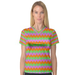Tropical Dream State Women s V Neck Sport Mesh Tee