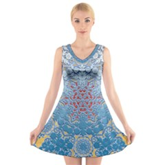 Pattern Background Pattern Tile V Neck Sleeveless Skater Dress