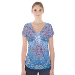 Pattern Background Pattern Tile Short Sleeve Front Detail Top