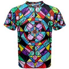 Sacred Geometry Grid   Men s Cotton Tee