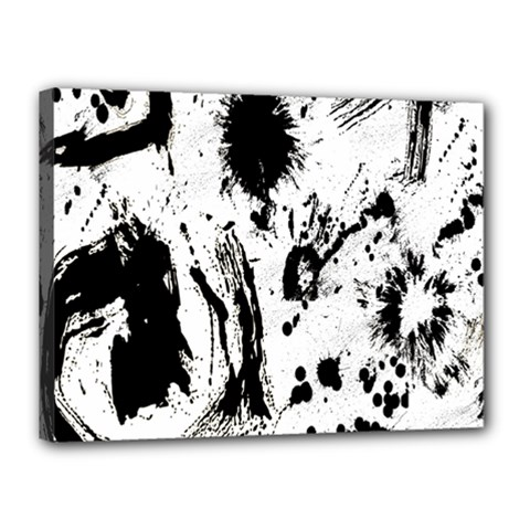 Pattern Color Painting Dab Black Canvas 16  x 12