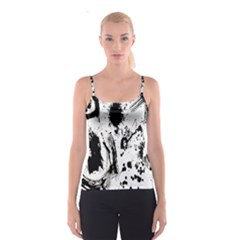 Pattern Color Painting Dab Black Spaghetti Strap Top