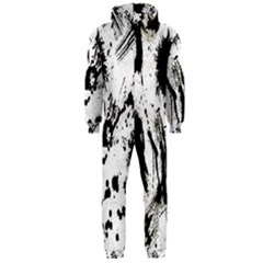 Pattern Color Painting Dab Black Hooded Jumpsuit (Men)