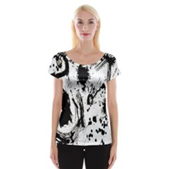 Pattern Color Painting Dab Black Women s Cap Sleeve Top