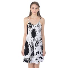 Pattern Color Painting Dab Black Camis Nightgown