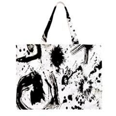 Pattern Color Painting Dab Black Large Tote Bag