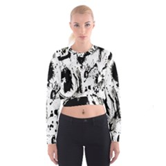 Pattern Color Painting Dab Black Women s Cropped Sweatshirt