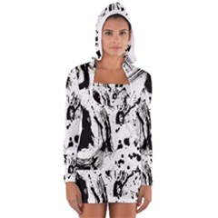 Pattern Color Painting Dab Black Women s Long Sleeve Hooded T Shirt