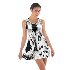 Pattern Color Painting Dab Black Cotton Racerback Dress