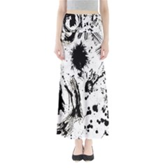 Pattern Color Painting Dab Black Maxi Skirts