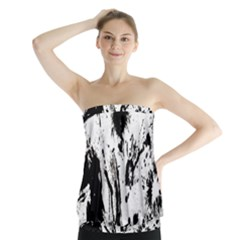 Pattern Color Painting Dab Black Strapless Top