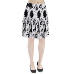 Pattern Color Painting Dab Black Pleated Skirt