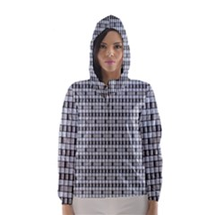 Pattern Grid Squares Texture Hooded Wind Breaker (women)