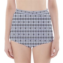 Pattern Grid Squares Texture High Waisted Bikini Bottoms