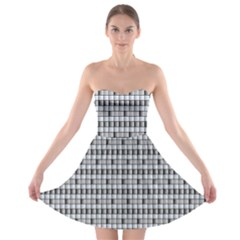 Pattern Grid Squares Texture Strapless Bra Top Dress