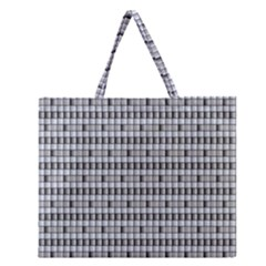 Pattern Grid Squares Texture Zipper Large Tote Bag