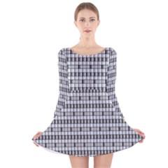 Pattern Grid Squares Texture Long Sleeve Velvet Skater Dress