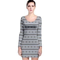 Pattern Grid Squares Texture Long Sleeve Velvet Bodycon Dress