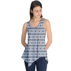 Pattern Grid Squares Texture Sleeveless Tunic