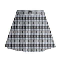 Pattern Grid Squares Texture Mini Flare Skirt