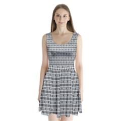 Pattern Grid Squares Texture Split Back Mini Dress