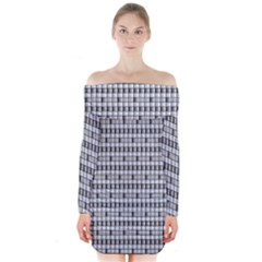 Pattern Grid Squares Texture Long Sleeve Off Shoulder Dress