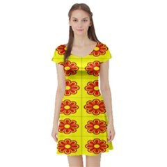 Pattern Design Graphics Colorful Short Sleeve Skater Dress