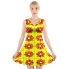 Pattern Design Graphics Colorful V Neck Sleeveless Skater Dress