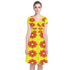 Pattern Design Graphics Colorful Short Sleeve Front Wrap Dress