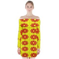 Pattern Design Graphics Colorful Long Sleeve Off Shoulder Dress