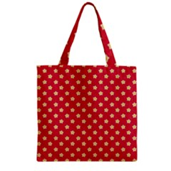 Pattern Felt Background Paper Red Zipper Grocery Tote Bag