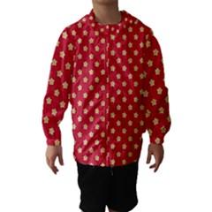 Pattern Felt Background Paper Red Hooded Wind Breaker (Kids)
