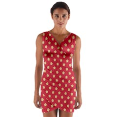 Pattern Felt Background Paper Red Wrap Front Bodycon Dress