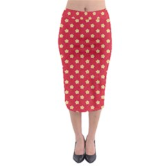 Pattern Felt Background Paper Red Midi Pencil Skirt